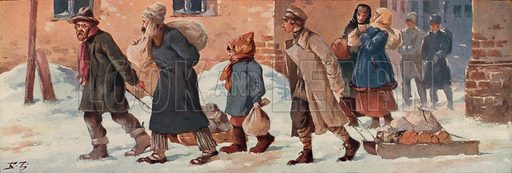 Soviet workers leaving their offices with their food rations. Illustration from Histoire des Soviets (Paris, c1925).