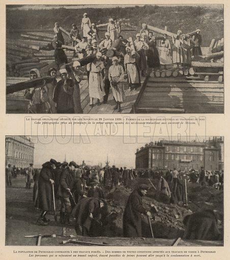 Russian bourgeois men and women compelled by the Soviets to perform forced labour, 1920. Illustration from Histoire des Soviets (Paris, c1925).