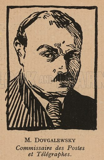 Valerian Dovgalevsky (1885-1934), Soviet politician and People's Commissar for Communications. Illustration from Histoire des Soviets (Paris, c1925).