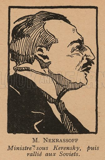 Nikolai Nekrasov (1879-1940), Russian liberal politician and minister in the Provisional Government of Alexander Kerensky after the February Revolution. Illustration from Histoire des Soviets (Paris, c1925).