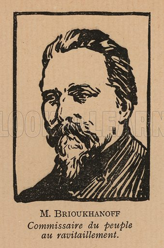 Nikolai Bryukhanov (1878-1938), Russian Soviet politician appointed People's Commissar for Food during the Russian Famine of 1921-1922. Illustration from Histoire des Soviets (Paris, c1925).