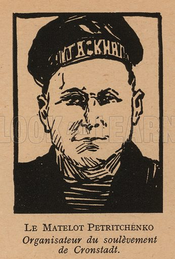 Stepan Petrichenko (1892-1947), Russian sailor and anarcho-syndicalist revolutionary who led the Kronstadt rebellion against the Bolsheviks in March 1921. Illustration from Histoire des Soviets (Paris, c1925).
