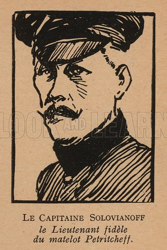Captain E N Solovyanov, Russian naval officer and one of the leaders of the Kronstadt rebellion against the Bolsheviks in March 1921. Illustration from Histoire des Soviets (Paris, c1925).