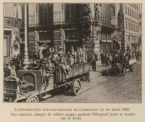 Lorries carrying Red Army soldiers setting off from Petrograd to put down the Kronstadt Rebellion, March 1921. Illustration from Histoire des Soviets (Paris, c1925).