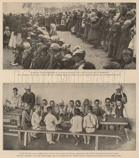 Children in the Lower Volga region of Russia receiving food provided by the famine relief campaign organised by Norwegian explorer and humanitarian Fridtjof Nansen, 1921-1922. Illustration from Histoire des Soviets (Paris, c1925).