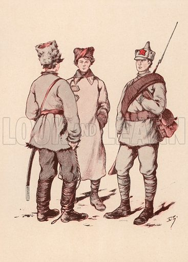 Soldiers of the Soviet Red Army. Illustration from Histoire des Soviets (Paris, c1925).