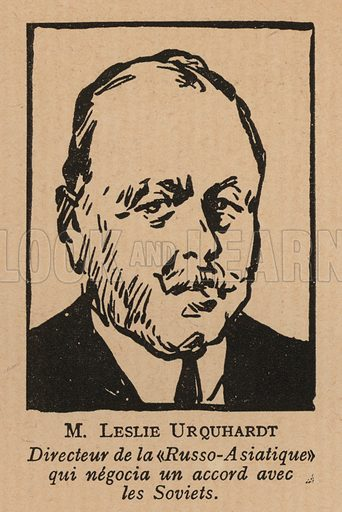 Leslie Urquhart (1874-1933), British mining entrepreneur and director of the Russo-Asiatic Corporation, who attempted to negotiate a concession to operate mines in Soviet Russia. Illustration from Histoire des Soviets (Paris, c1925).