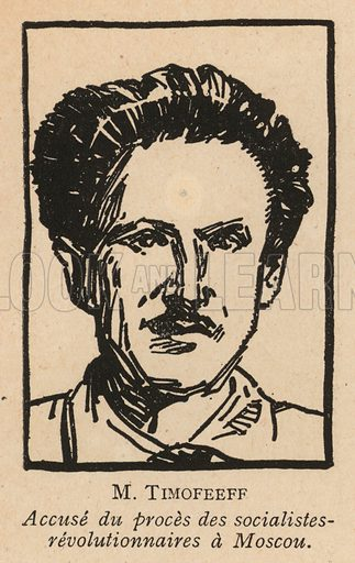 Evgeny Timofeev, Russian Socialist Revolutionary politician who was one of the defendants in the 1922 Moscow Trial of Socialist Revolutionaries, the first Soviet show trial. Illustration from Histoire des Soviets (Paris, c1925).
