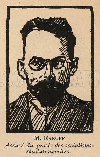 Dmitri Rakov, Russian Socialist Revolutionary politician who was one of the defendants in the 1922 Moscow Trial of Socialist Revolutionaries, the first Soviet show trial. Illustration from Histoire des Soviets (Paris, c1925).