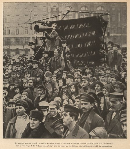Mass communist demonstration on the streets of Petrograd, Russia, in early 1922. Illustration from Histoire des Soviets (Paris, c1925).