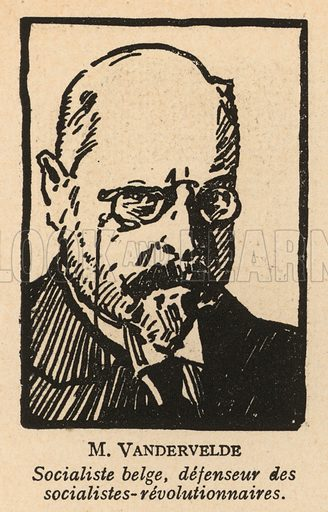 Emile Vandervelde (1866-1938), Belgian socialist lawyer who defended the accused in the 1922 Moscow Trial of Socialist Revolutionaries, the first Soviet show trial. Illustration from Histoire des Soviets (Paris, c1925).
