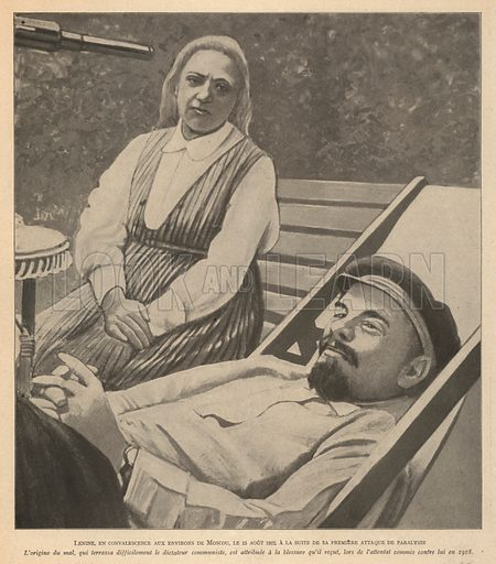 Soviet leader Vladimir Lenin convalescing at his house in Gorki in August 1922 after suffering his first stroke. Illustration from Histoire des Soviets (Paris, c1925).