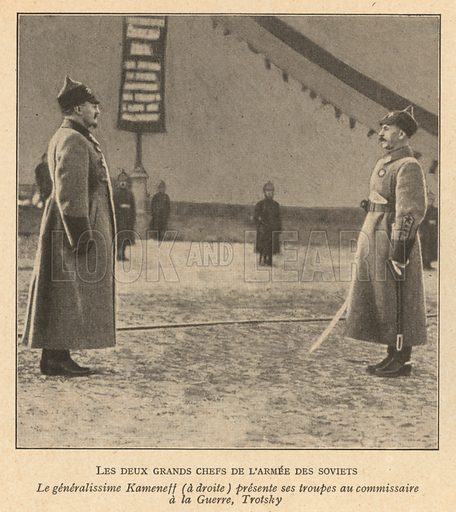 Soviet General Sergey Kamenev, commander of the Red Army, presenting his troops to People's Commissar of Army and Navy Affairs Leon Trotsky. Illustration from Histoire des Soviets (Paris, c1925).