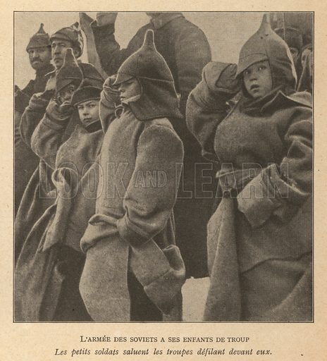 Soviet children saluting soldiers of the Red Army as they march by. Illustration from Histoire des Soviets (Paris, c1925).