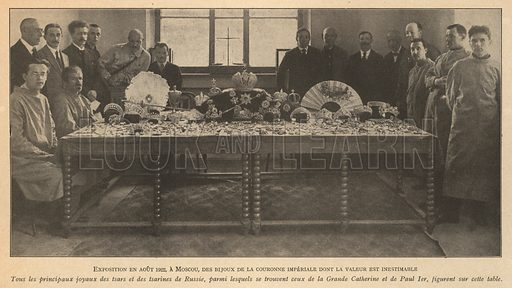 Russian Imperial crown jewels on display in Moscow, August 1922. Illustration from Histoire des Soviets (Paris, c1925).