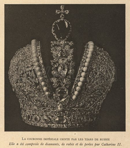 Imperial Crown of Russia, used by Russian monarchs from 1762 until the overthrow of the monarchy in the Russian Revolution in 1917. Illustration from Histoire des Soviets (Paris, c1925).