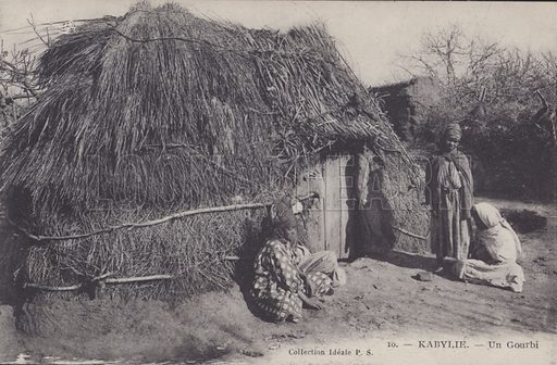 Villagers with their Gourbi (tents) in Kabylie, Algeria. Postcard, late 19th or early 20th century.