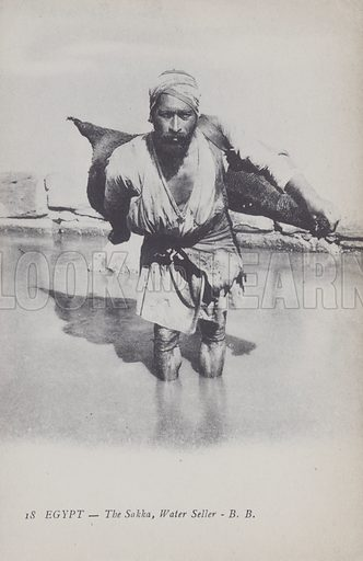 The water seller, Egypt. Postcard, late 19th or early 20th century.