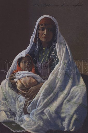 Bedouin woman with her baby. Postcard, late 19th or early 20th century.