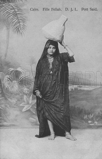 Young peasant girl (Fellah) carrying water, Port Said, Egypt. Postcard, late 19th or early 20th century.