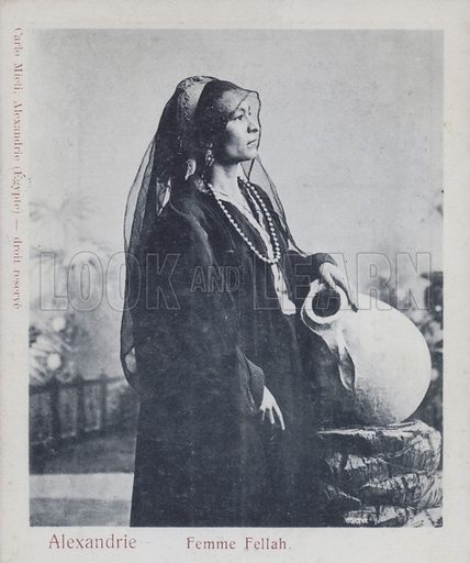 Peasant woman (Fellah) in Alexandria, Egypt. Postcard, late 19th or early 20th century.