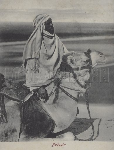 Bedouin man on a camel, Northern Africa. Postcard, late 19th or early 20th century.