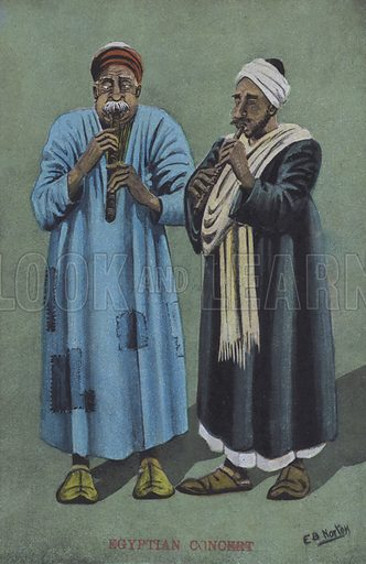 Egyptian musicians. Postcard, late 19th or early 20th century.