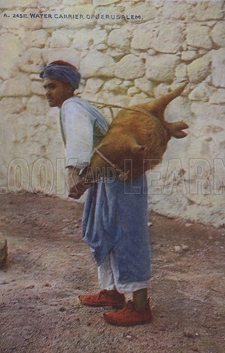 Man carrying water, Jerusalem. Postcard, late 19th or early 20th century.