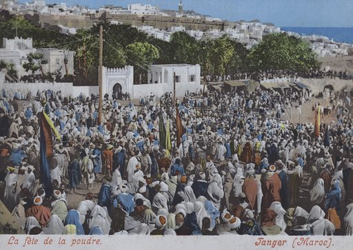 Crowds gathered for a fantasia, a traditional display of horsemanship, Tangier, Morocco. Postcard, late 19th or early 20th century.