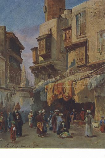 Street scene from Cairo, Egypt. Postcard, late 19th or early 20th century.