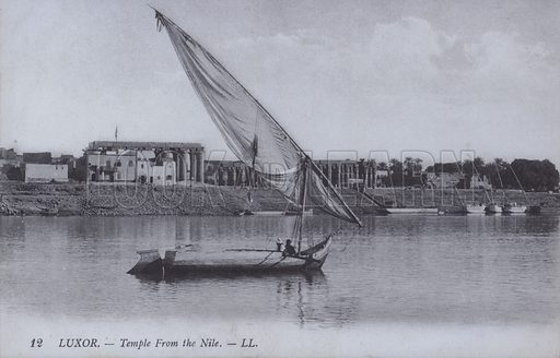 Temple of Luxor seen from the Nile, Egypt. Postcard, late 19th or early 20th century.