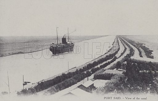 Port Said and the Suez Canal, Egypt. Postcard, late 19th or early 20th century.