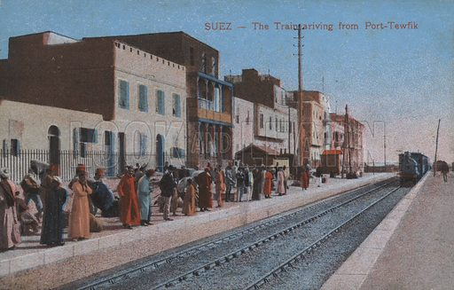 The train arriving in Suez from Port Tawfiq, Egypt. Postcard, late 19th or early 20th century.