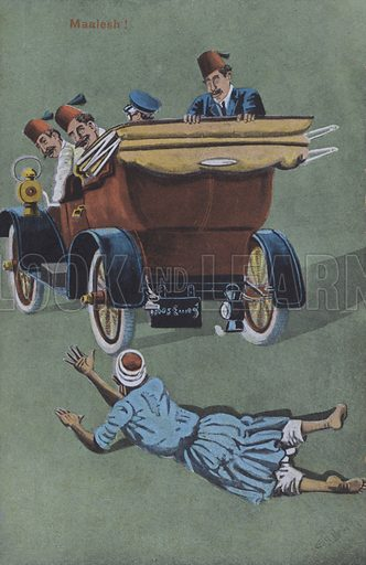Man run over by chauffeur driven car. Postcard, late 19th or early 20th century.