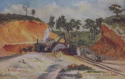 Steam shovel; at Takoradi Gold Coast, Ghana. Postcard, late 19th or early 20th century.