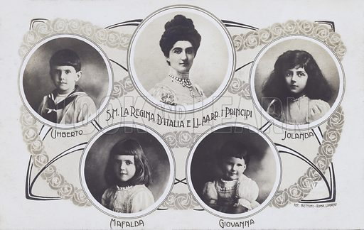 Queen Elena of Italy (1871-1952) with her children, Princess Yolanda, Princess Mafalda, Prince Umberto (later Umberto II) and Princess Giovanna. Postcard, early 20th Century.