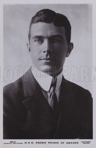 Crown Prince Gustav Adolf of Sweden (1882-1973) - later Gustaf VI Adolf. Postcard, early 20th Century.