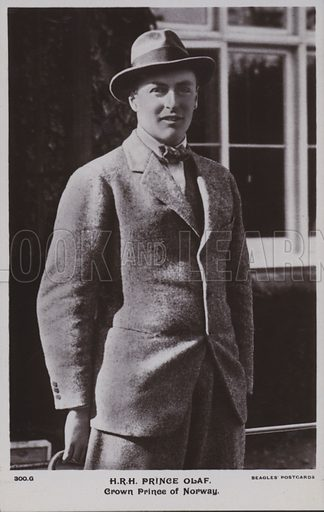Prince Olaf (1903-1991), Crown Prince of Norway, later King Olav V. Postcard, early 20th Century.