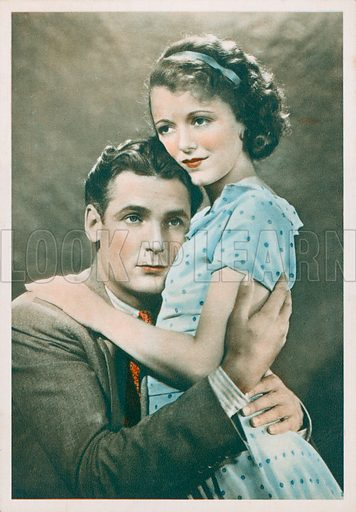Charles Farrell (1900-1990) and Janet Gaynor (1906-1984), American Hollywood film stars and actors. Postcard.