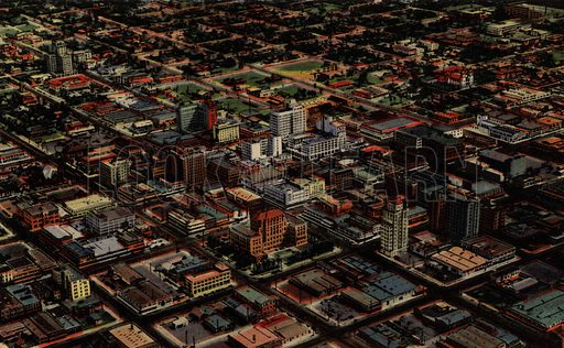 The Business Section of Phoenix. One of a set of postcards of Phoenix, Arizona, USA.  Published in 1941 by Curt Teich & Co, Chicago.