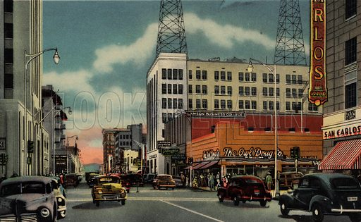 Central Avenue, Looking South from Monroe. One of a set of postcards of Phoenix, Arizona, USA.  Published in 1941 by Curt Teich & Co, Chicago.