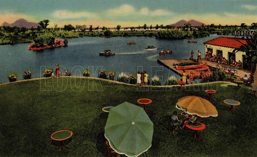 In Encanto Park. One of a set of postcards of Phoenix, Arizona, USA.  Published in 1941 by Curt Teich & Co, Chicago.