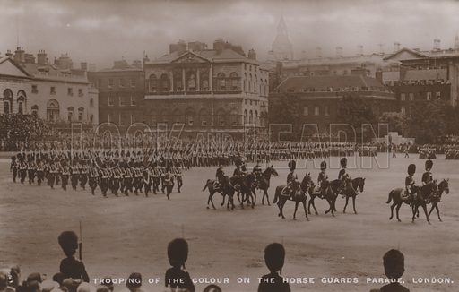 Trooping of the colour on the Horse Guards Parade, London. Postcard, 20th century.