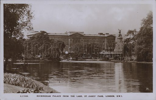 Buckingham Palace from the lake, St James