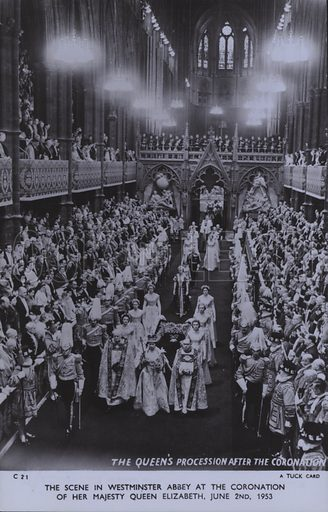 The scene in Westminster Abbey at the coronation of her majesty Queen Elizabeth, 2 June 1953. Postcard, 20th century.