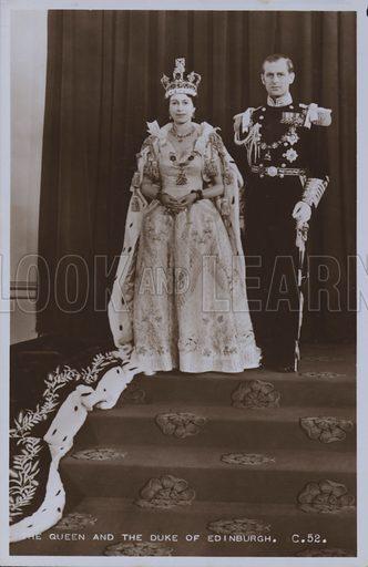 The Queen and the Duke of Edinburgh. Postcard, 20th century.