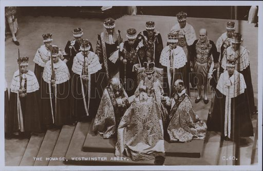 The homage, Westminster Abbey. Postcard, 20th century.