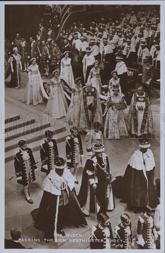 The Queen passing through Westminster Abbey. Postcard, 20th century.