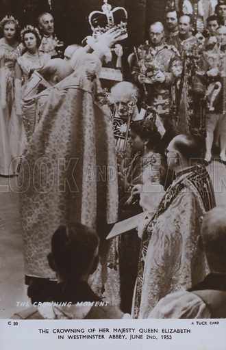 The crowning of her majesty Queen Elizabeth in Westminster Abbey, 2 June 1953. Postcard, 20th century.