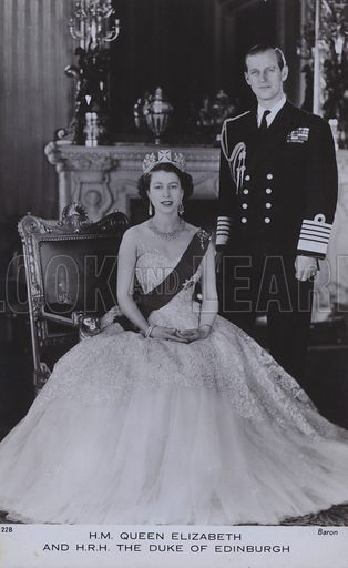HM Queen Elizabeth and HRH The Duke of Edinburgh. Postcard, 20th century.
